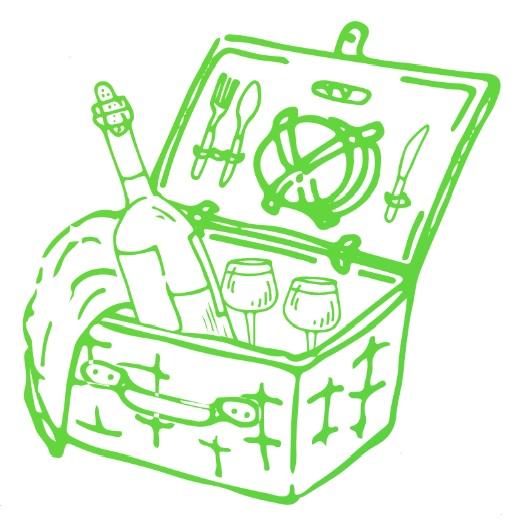 Zeichnung grüner Picknickkorb